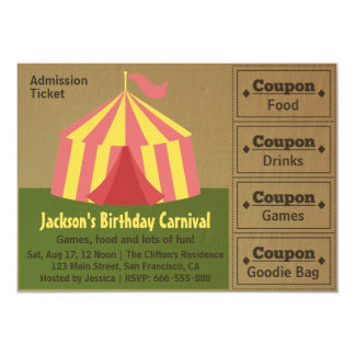"Kids Birthday Party: Carnival Admission Ticket 5"" X 7"" Invitation Card"