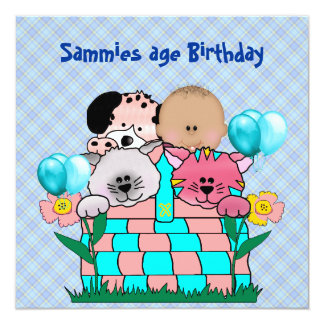 Kid's Birthday Party Cats Dogs Balloons 13 Cm X 13 Cm Square Invitation Card