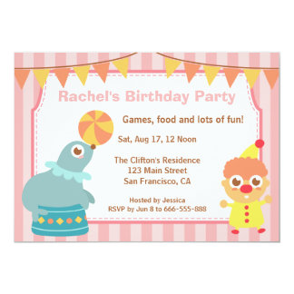 Kids Birthday Party - Circus Clown and Sea lion 13 Cm X 18 Cm Invitation Card