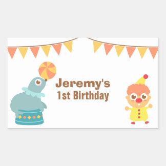 Kids Birthday Party - Circus Clown and Sea Lion Rectangular Sticker