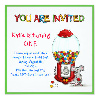 Kids Birthday Party - Gumball Invitation -
