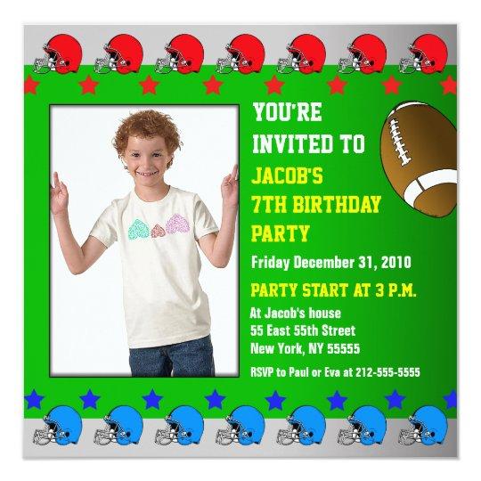 Kids Birthday Party Invitation Add Photo Football