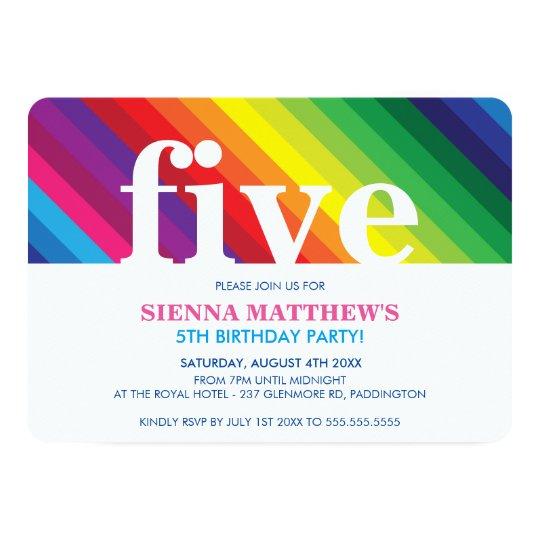 KIDS BIRTHDAY PARTY modern colourful bold rainbow Card