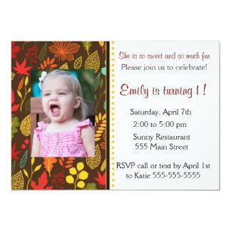 Kids Birthday Party Photo Invitation Fall Leaves