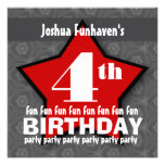 Kids Birthday Party Silver and Red STAR W202 Custom Invitation