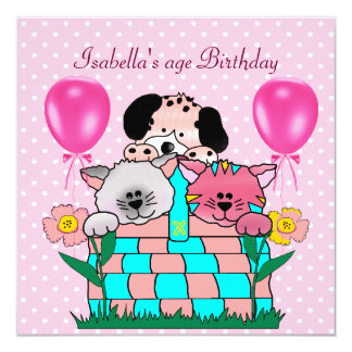 Kid's Birthday Party Spot Cats Dogs friends 2 13 Cm X 13 Cm Square Invitation Card