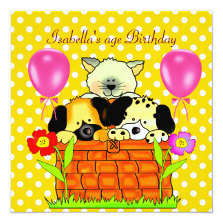 Kid's Birthday Party Spot Cats Dogs friends 4 13 Cm X 13 Cm Square Invitation Card