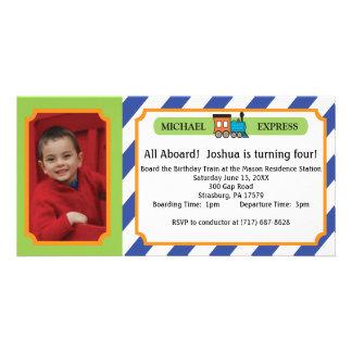 Kids Birthday Photo Train Ticket - Blue Stripes Personalized Photo Card