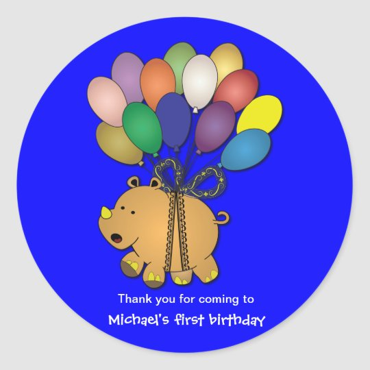 Kids birthday Stickers: Rhino Classic Round Sticker