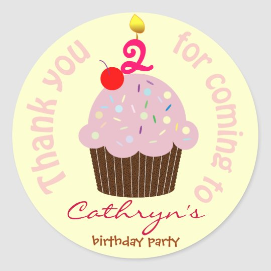 Kids Birthday Thank You Stickers: Cup Cake Classic