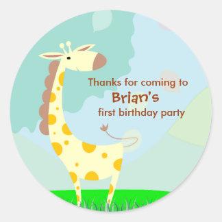 Kids Birthday Thank You Stickers: Giraffe Round Sticker