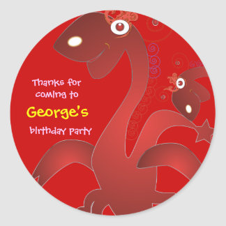 Kids birthday Thank You Stickers: Red Dragons