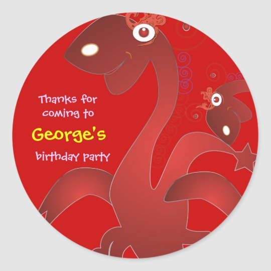 Kids birthday Thank You Stickers: Red Dragons Classic