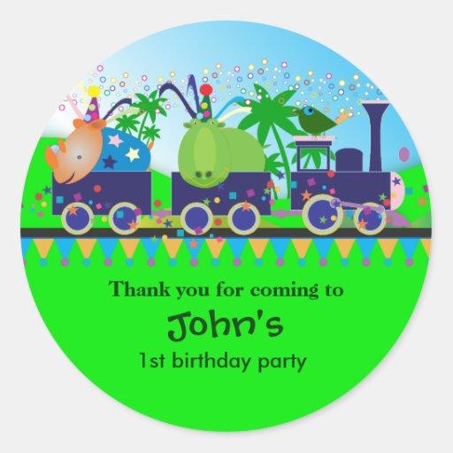 Kids Birthday Thank You Stickers: Train
