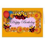 Kids Birthday themes: 039 Ladybugs Greeting Cards