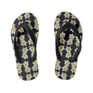 kids black and white floral flipflops flip flops