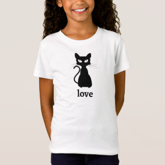 Kids Black Cat Love T-Shirt