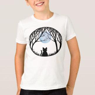 Kid's Black Cat T-shirt Spooky Fat Cat Kid's Tee