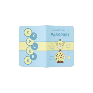 Kids blue and yellow giraffe passport holder