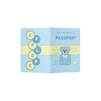 Kids blue and yellow teddy bear passport holder