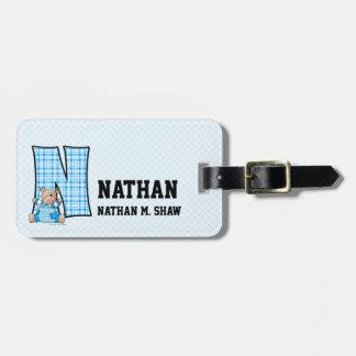 """Kid's Blue Gingham Monogram """"N"""" Luggage Tags"""