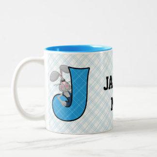 "Kid's Blue Jackrabbit Monogram ""J"" Mug"