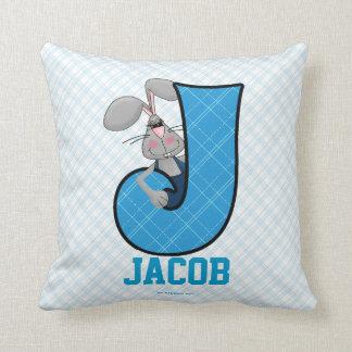 "Kid's Blue Jackrabbit Monogram ""J"" Pillow Throw Cushions"
