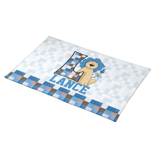 "Kid's Blue Lion Monogram ""L"" Placemat"