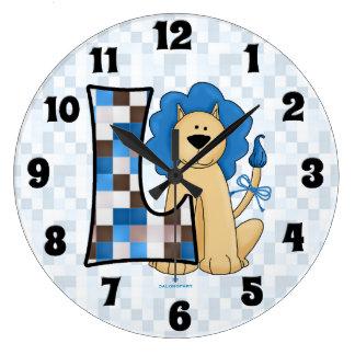 """Kid's Blue Lion Patchwork Mongoram """"L"""" Clock"""
