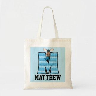 Kid's Blue Moose Monogram Letter M Tote Bag