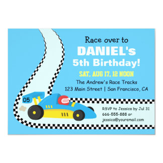 Kids Blue Race Car Birthday Party Invitations
