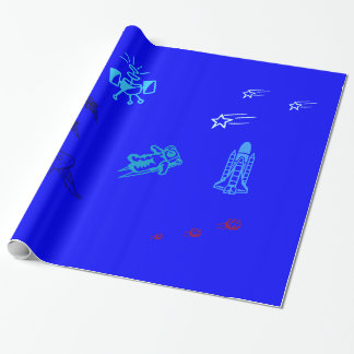 Kids Blue Space Wrapping Paper
