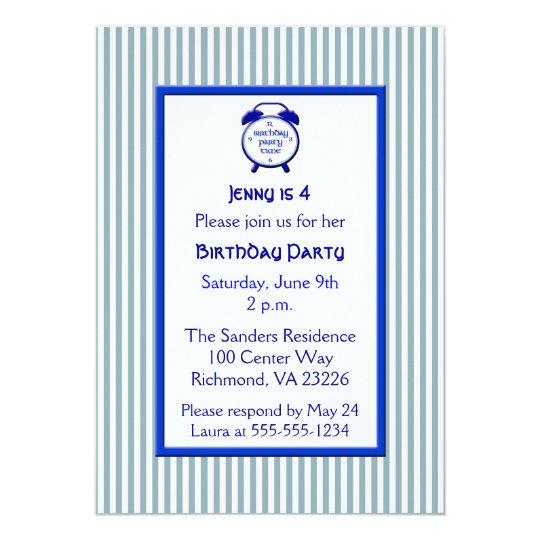 Kids Blue & White Stripe Cute Clock Birthday Party Card