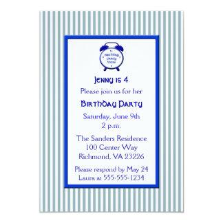 "Kids Blue & White Stripe Cute Clock Birthday Party 5"" X 7"" Invitation Card"
