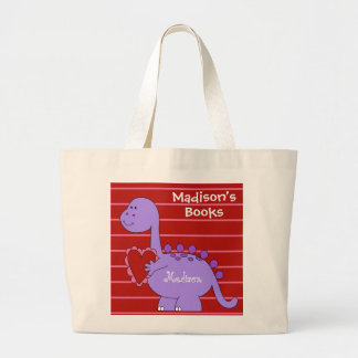Kid's Book Tote, Purple Dinosaur, Personalize Jumbo Tote Bag