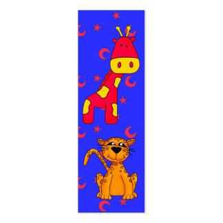 Kid's Bookmark Cheetah Giraffe Pack Of Skinny Business Cards