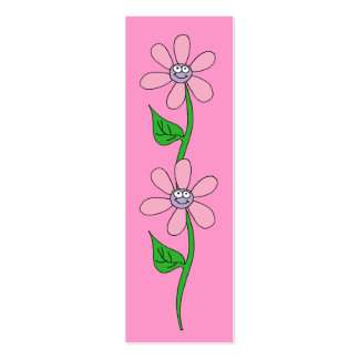 Kid's Bookmark Girls Pink Flowers Pack Of Skinny Business Cards