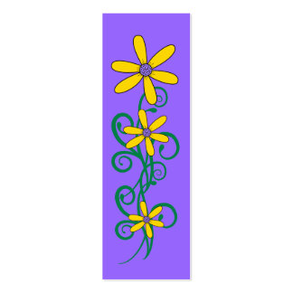 Kid's Bookmark Yellow Flower Plant Purple Pack Of Skinny Business Cards