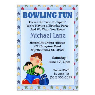Kids Bowling Birthday  Invitation
