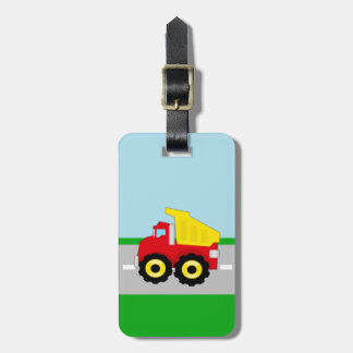 Kids Boys Construction Dumptruck Bag Tag