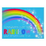 Kids bright rainbow dreams blue sky poster