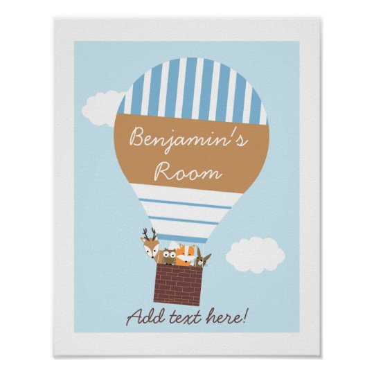 Kids Brown And Blue Hot Air Ballon Poster