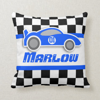 Kids car blue chequered flag name pillow