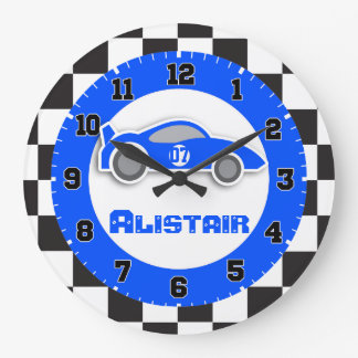 Kids car blue chequered flag name wall clock