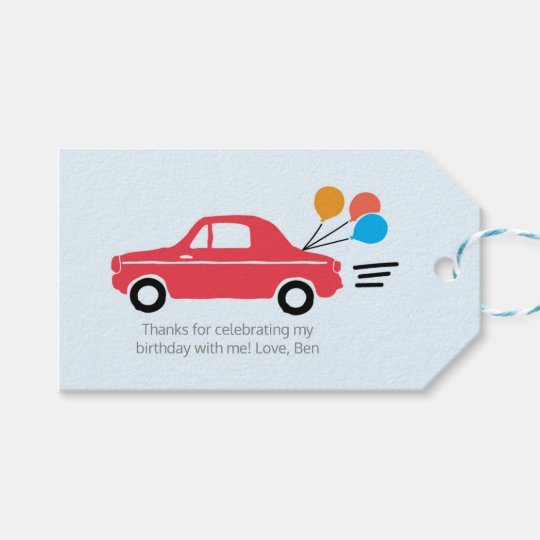 Kids Car Thank you tags | Favour tags