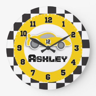 Kids car yellow chequered flag name wall clock