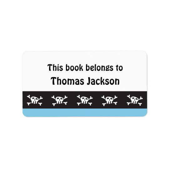 Kids cartoon pirate skull bookplate stickers address label
