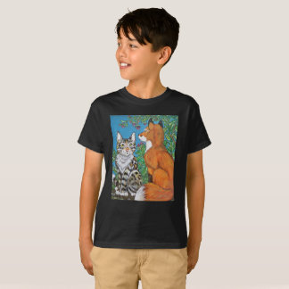 Kids' Cat and Red Fox T Shirt, Many Colors T-Shirt