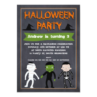Kids Chalkboard Halloween Birthday Invitation