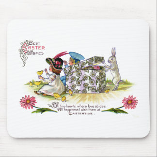 Kids, Chicks and Curious Rabbit Vintage Easter Mouse Pad